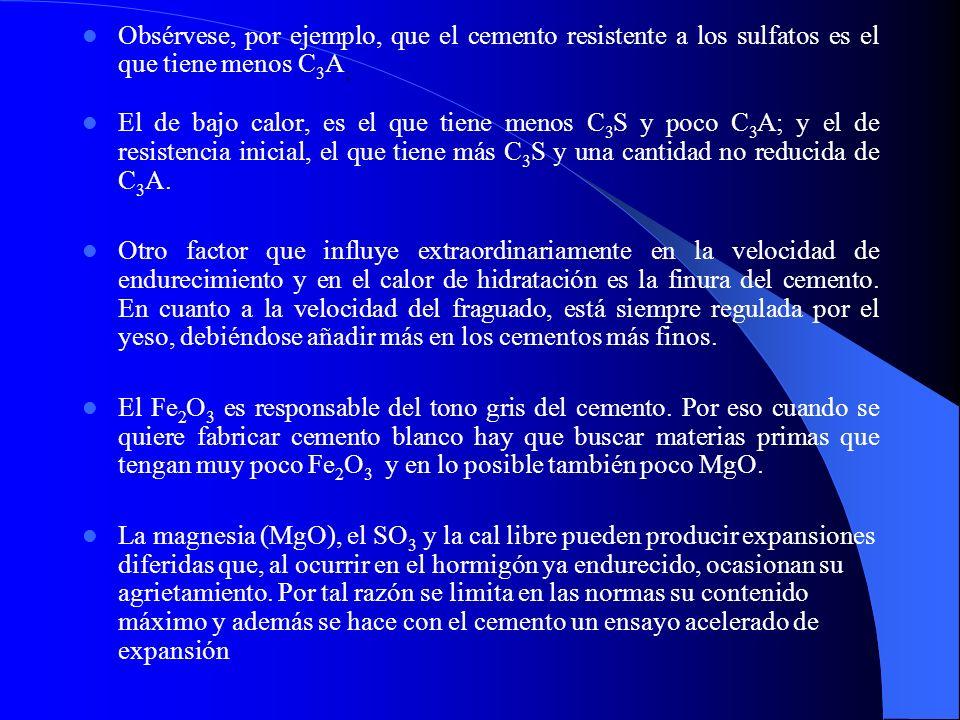 Obsérvese, por ejemplo, que el cemento resistente a los sulfatos es el que tiene menos C 3 A ; El de bajo calor, es el que tiene menos C 3 S y poco C