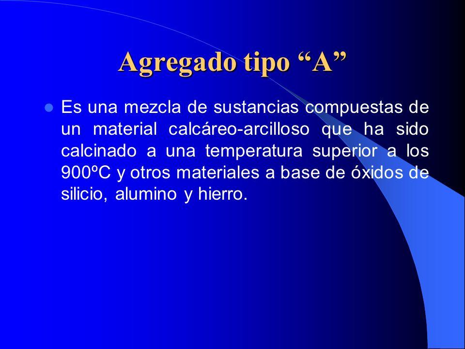 Agregado tipo A Es una mezcla de sustancias compuestas de un material calcáreo-arcilloso que ha sido calcinado a una temperatura superior a los 900ºC