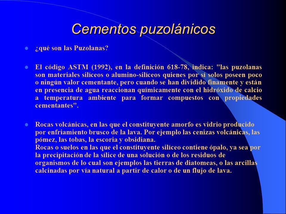 Cementos puzolánicos ¿qué son las Puzolanas? El código ASTM (1992), en la definición 618-78, indica: