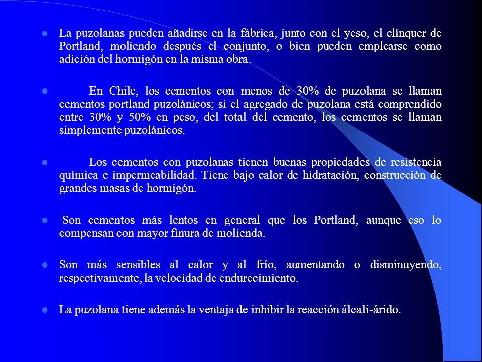 La puzolanas pueden añadirse en la fábrica, junto con el yeso, el clínquer de Portland, moliendo después el conjunto, o bien pueden emplearse como adi