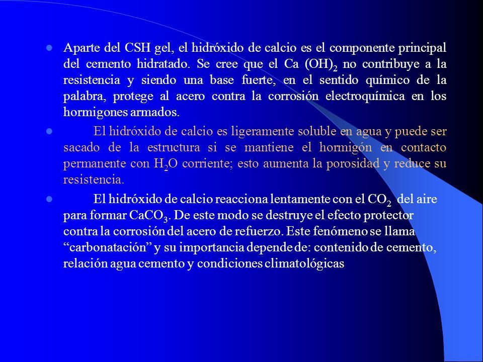 Aparte del CSH gel, el hidróxido de calcio es el componente principal del cemento hidratado. Se cree que el Ca (OH) 2 no contribuye a la resistencia y