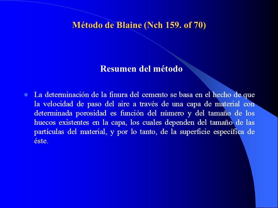 Método de Blaine (Nch 159. of 70) Resumen del método La determinación de la finura del cemento se basa en el hecho de que la velocidad de paso del air