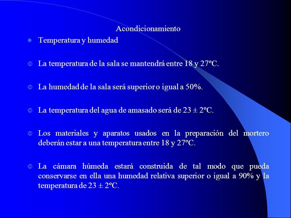 Acondicionamiento Temperatura y humedad La temperatura de la sala se mantendrá entre 18 y 27ºC. La humedad de la sala será superior o igual a 50%. La
