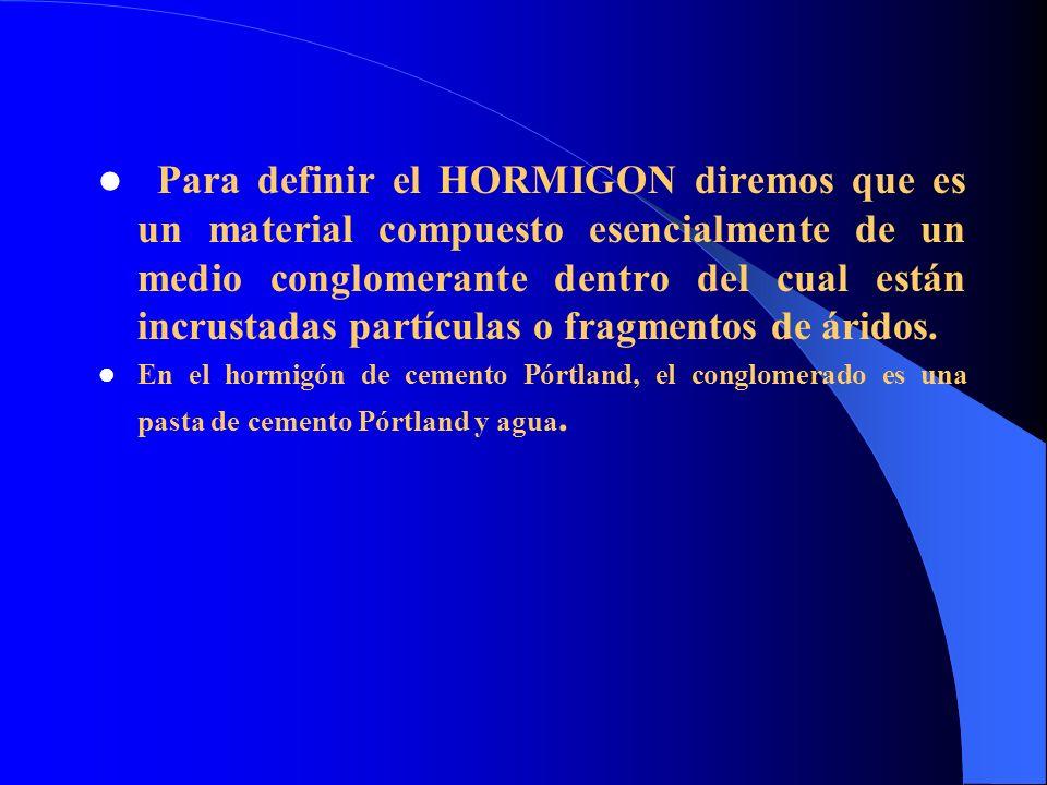 PRINCIPALES COMPONENTES DEL HORMIGON Los hormigones están constituidos fundamentalmente por cemento, agua, áridos y eventualmente aditivos.
