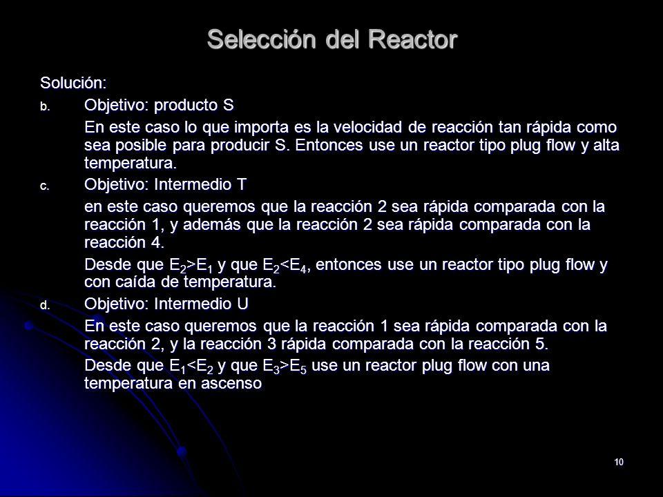 10 Selección del Reactor Solución: b. Objetivo: producto S En este caso lo que importa es la velocidad de reacción tan rápida como sea posible para pr