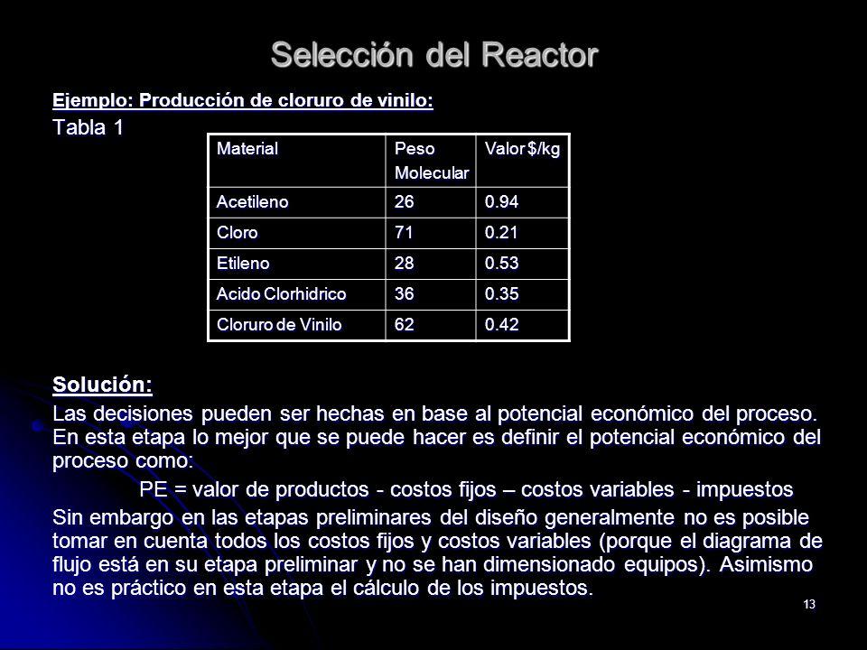 13 Selección del Reactor Ejemplo: Producción de cloruro de vinilo: Tabla 1 Solución: Las decisiones pueden ser hechas en base al potencial económico d