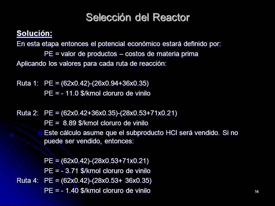 14 Selección del Reactor Solución: En esta etapa entonces el potencial económico estará definido por: PE = valor de productos – costos de materia prim