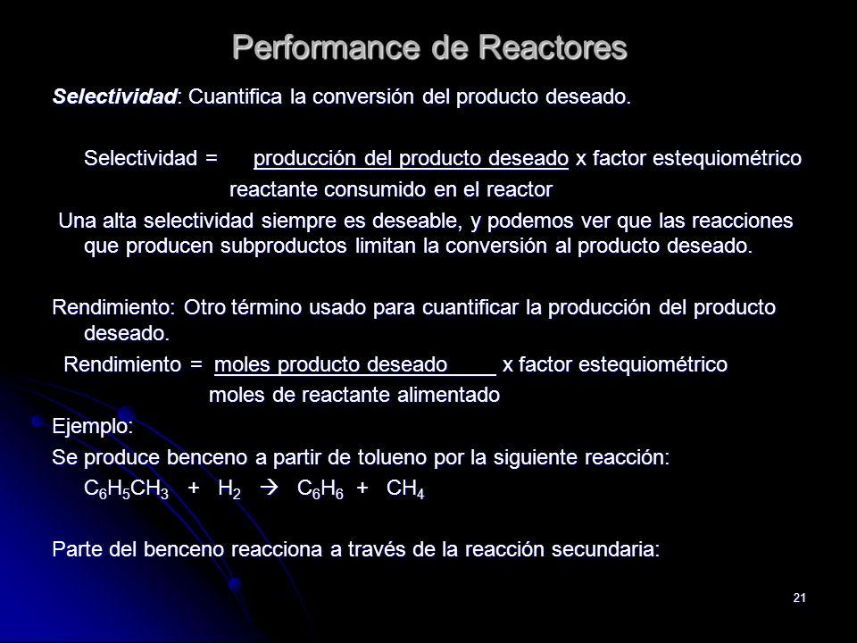 21 Selectividad: Cuantifica la conversión del producto deseado. Selectividad = producción del producto deseado x factor estequiométrico reactante cons