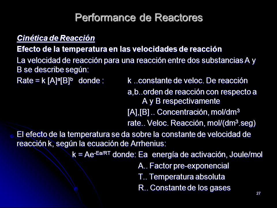 27 Performance de Reactores Cinética de Reacción Efecto de la temperatura en las velocidades de reacción La velocidad de reacción para una reacción en