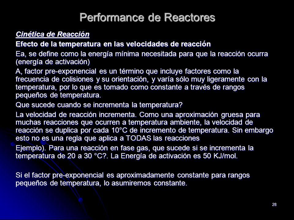 28 Performance de Reactores Cinética de Reacción Efecto de la temperatura en las velocidades de reacción Ea, se define como la energía mínima necesita