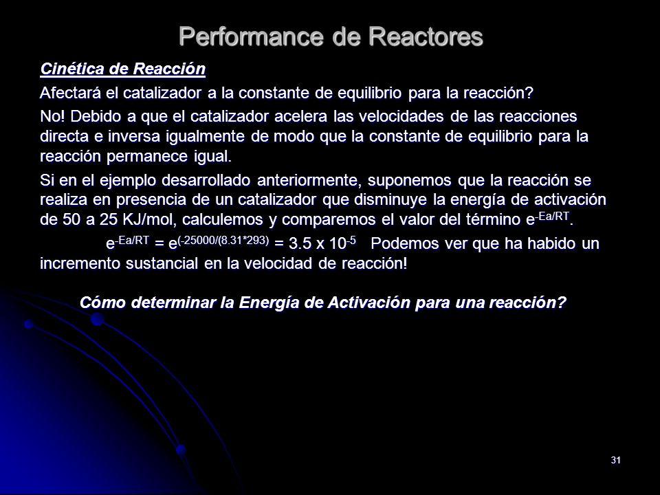 31 Performance de Reactores Cinética de Reacción Afectará el catalizador a la constante de equilibrio para la reacción? No! Debido a que el catalizado