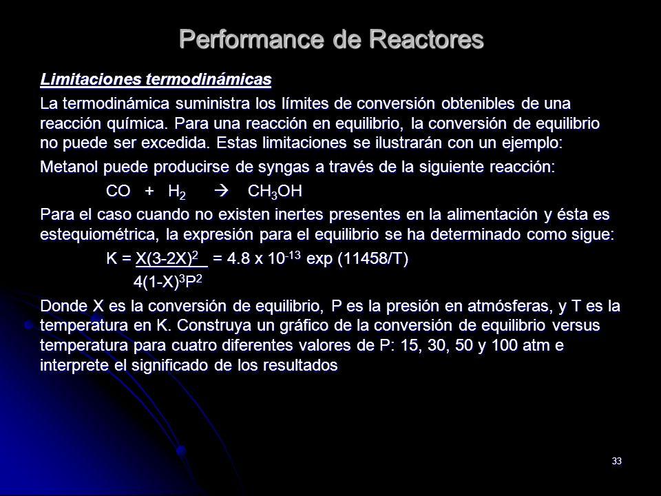 33 Performance de Reactores Limitaciones termodinámicas La termodinámica suministra los límites de conversión obtenibles de una reacción química. Para