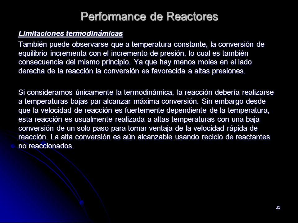 35 Performance de Reactores Limitaciones termodinámicas También puede observarse que a temperatura constante, la conversión de equilibrio incrementa c