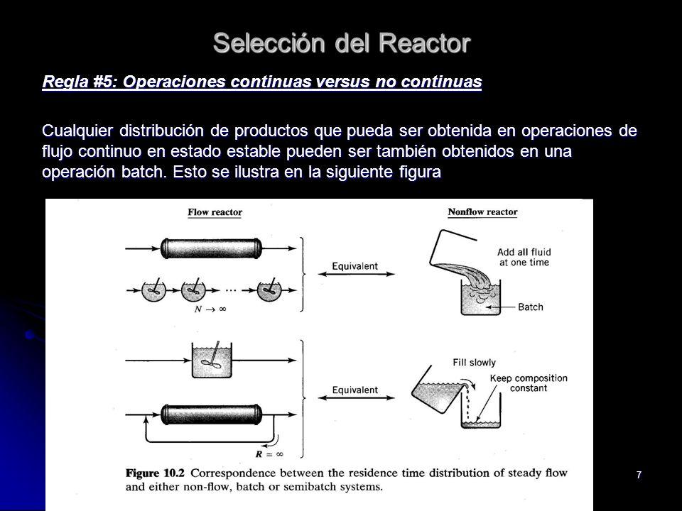 7 Selección del Reactor Regla #5: Operaciones continuas versus no continuas Cualquier distribución de productos que pueda ser obtenida en operaciones
