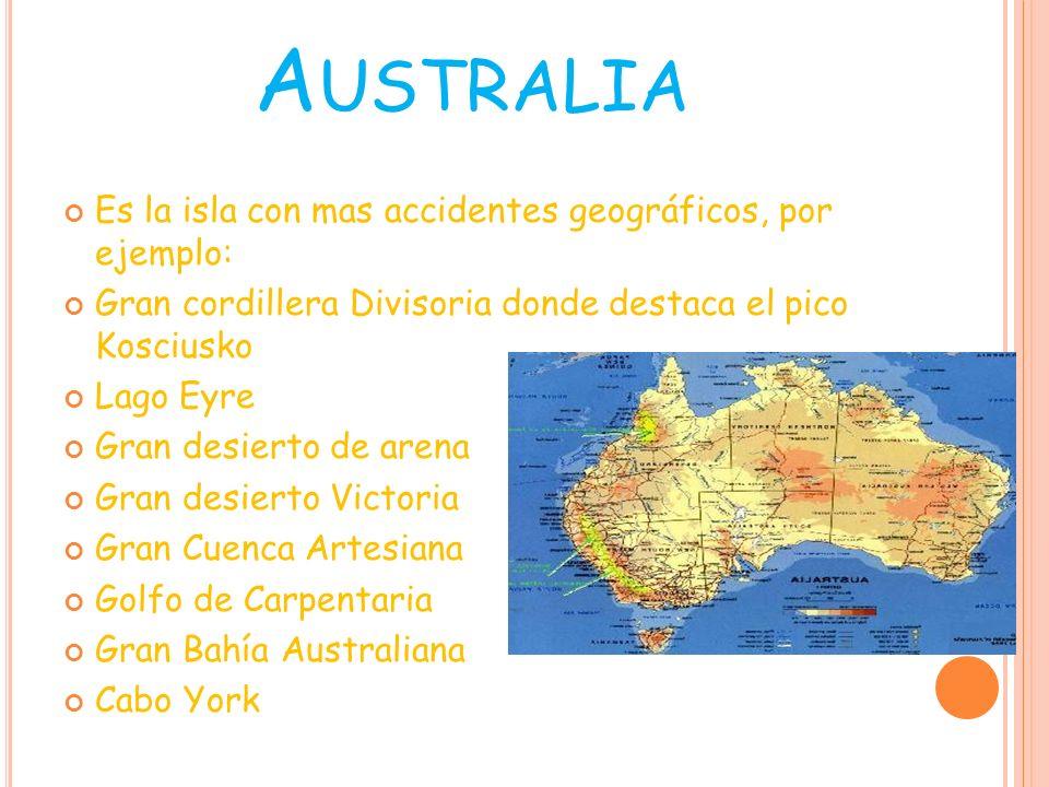 Gran desierto Victoria Monte Kosciusko Gran desierto Victoria Golfo de Carpentaria Lago Eyre