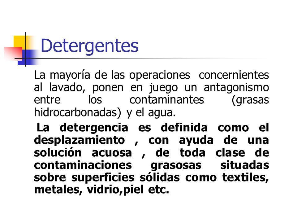 Detergentes La mayoría de las operaciones concernientes al lavado, ponen en juego un antagonismo entre los contaminantes (grasas hidrocarbonadas) y el