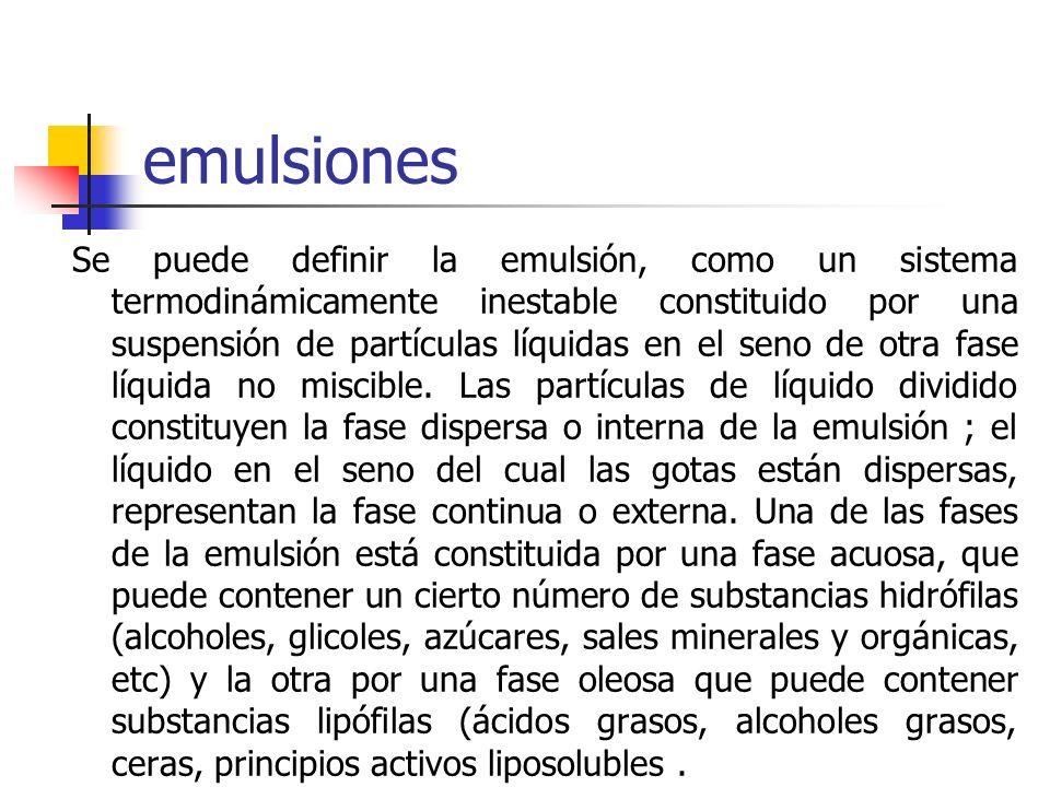emulsiones Se puede definir la emulsión, como un sistema termodinámicamente inestable constituido por una suspensión de partículas líquidas en el seno