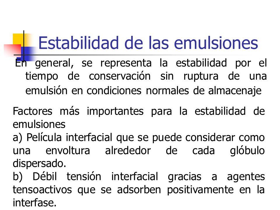 Estabilidad de las emulsiones En general, se representa la estabilidad por el tiempo de conservación sin ruptura de una emulsión en condiciones normal
