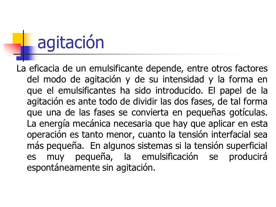 agitación La eficacia de un emulsificante depende, entre otros factores del modo de agitación y de su intensidad y la forma en que el emulsificantes h
