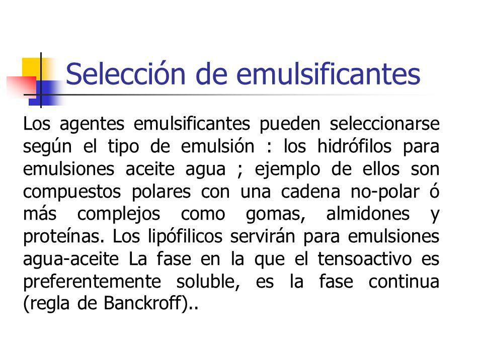 Selección de emulsificantes Los agentes emulsificantes pueden seleccionarse según el tipo de emulsión : los hidrófilos para emulsiones aceite agua ; e