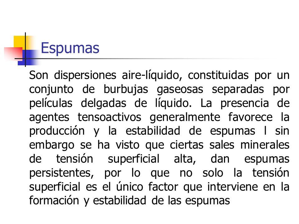 Espumas Son dispersiones aire-líquido, constituidas por un conjunto de burbujas gaseosas separadas por películas delgadas de líquido. La presencia de