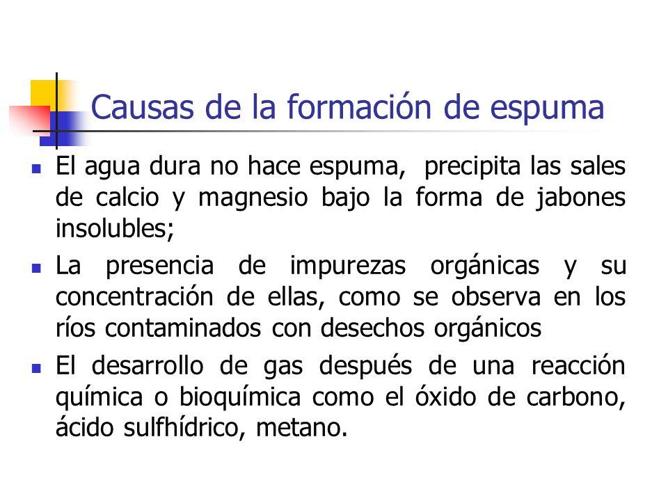 Causas de la formación de espuma El agua dura no hace espuma, precipita las sales de calcio y magnesio bajo la forma de jabones insolubles; La presenc