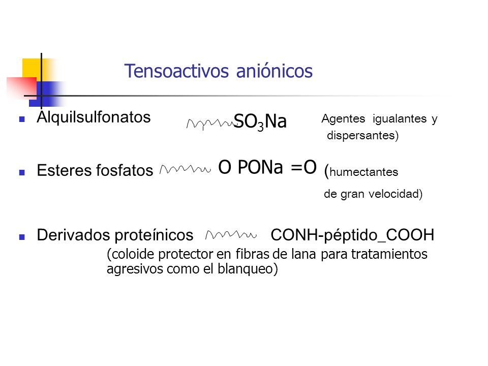 Alquilsulfonatos Agentes igualantes y dispersantes) Esteres fosfatos ( humectantes de gran velocidad) Derivados proteínicos CONH-péptido_COOH Tensoact