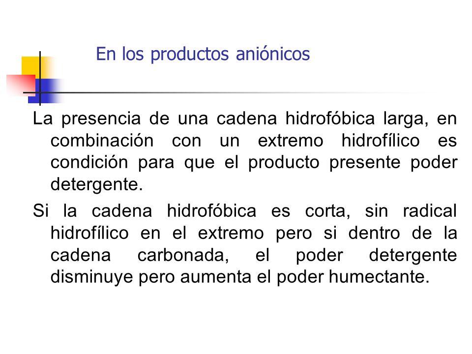 La presencia de una cadena hidrofóbica larga, en combinación con un extremo hidrofílico es condición para que el producto presente poder detergente. S