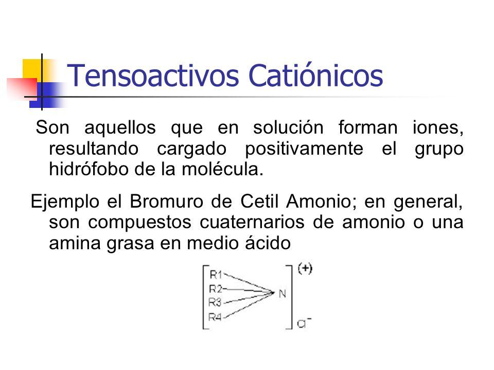 Tensoactivos Catiónicos Son aquellos que en solución forman iones, resultando cargado positivamente el grupo hidrófobo de la molécula. Ejemplo el Brom