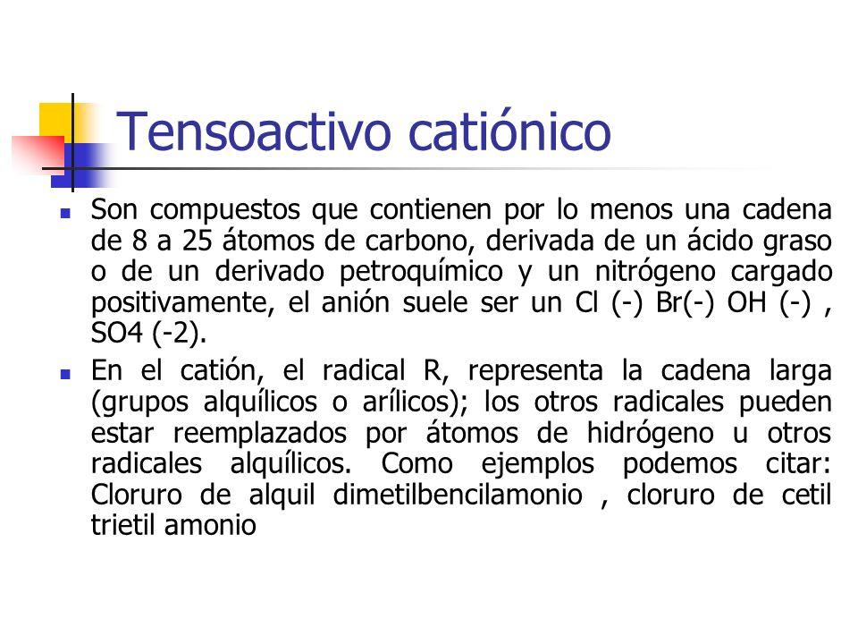 Tensoactivo catiónico Son compuestos que contienen por lo menos una cadena de 8 a 25 átomos de carbono, derivada de un ácido graso o de un derivado pe
