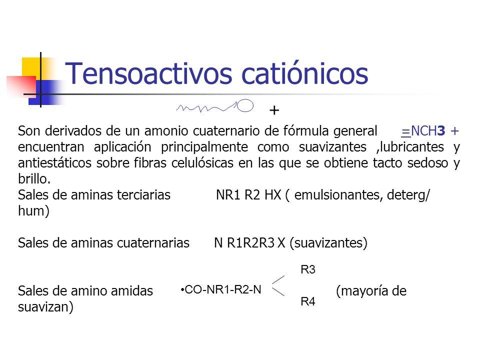 Tensoactivos catiónicos + Son derivados de un amonio cuaternario de fórmula general =NCH3 + encuentran aplicación principalmente como suavizantes,lubr