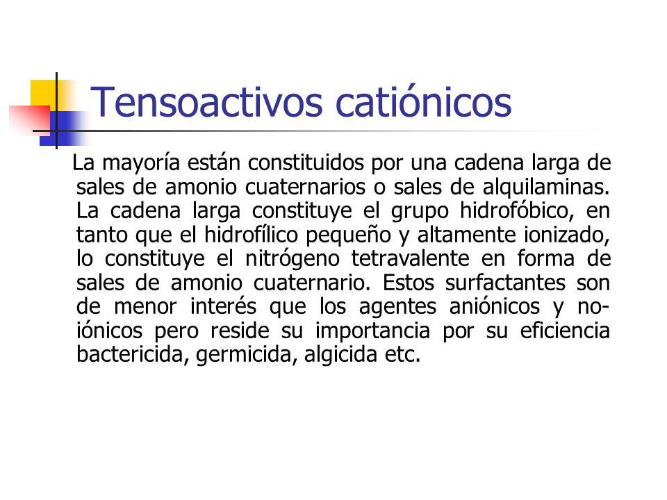 Tensoactivos catiónicos La mayoría están constituidos por una cadena larga de sales de amonio cuaternarios o sales de alquilaminas. La cadena larga co