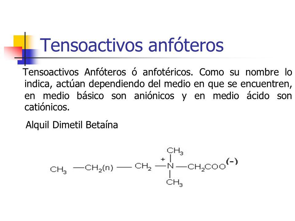 Tensoactivos anfóteros Tensoactivos Anfóteros ó anfotéricos. Como su nombre lo indica, actúan dependiendo del medio en que se encuentren, en medio bás