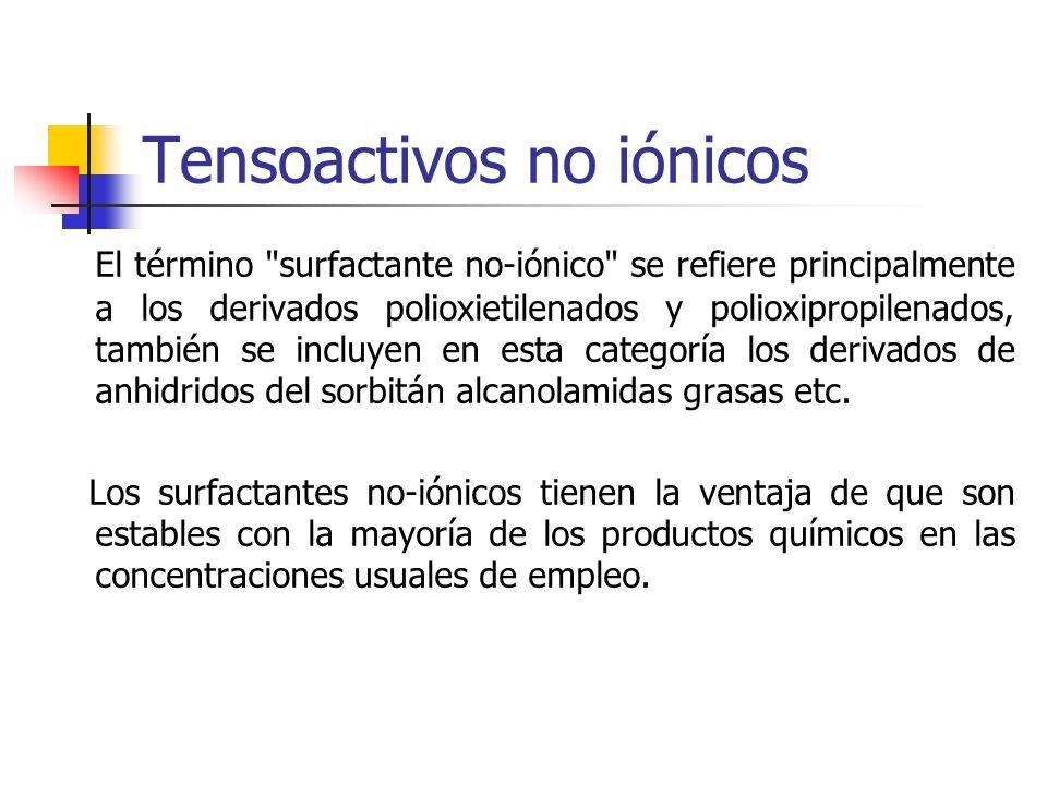 Tensoactivos no iónicos El término