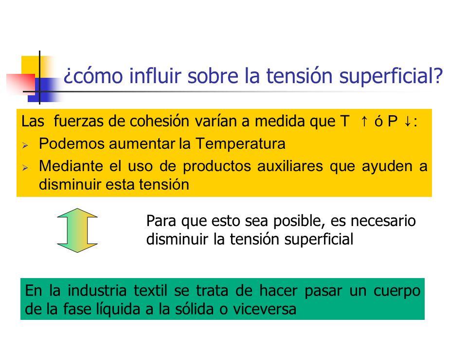 ¿cómo influir sobre la tensión superficial? Las fuerzas de cohesión varían a medida que T ó P : Podemos aumentar la Temperatura Mediante el uso de pro