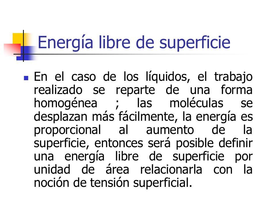 Energía libre de superficie En el caso de los líquidos, el trabajo realizado se reparte de una forma homogénea ; las moléculas se desplazan más fácilm