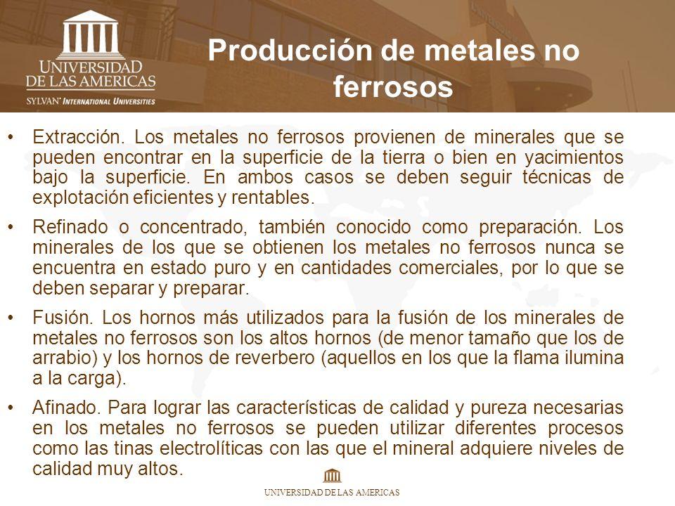 UNIVERSIDAD DE LAS AMERICAS Producción de metales no ferrosos Extracción. Los metales no ferrosos provienen de minerales que se pueden encontrar en la