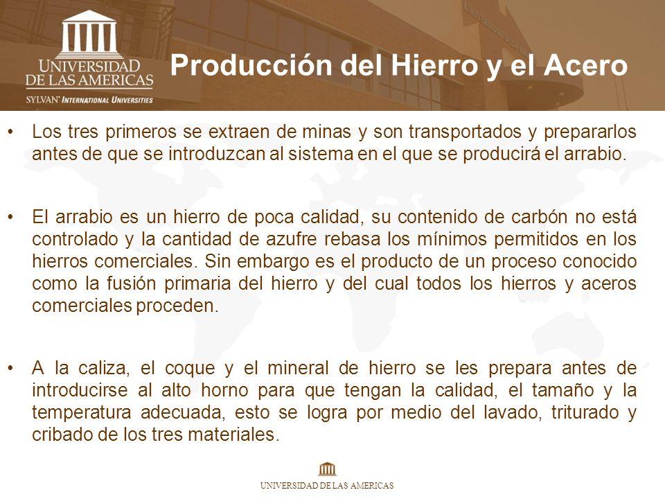 UNIVERSIDAD DE LAS AMERICAS Producción del Hierro y el Acero Los tres primeros se extraen de minas y son transportados y prepararlos antes de que se i