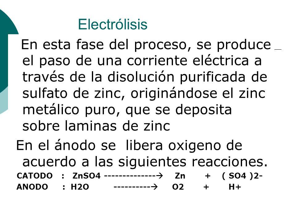 Electrólisis En esta fase del proceso, se produce el paso de una corriente eléctrica a través de la disolución purificada de sulfato de zinc, originán