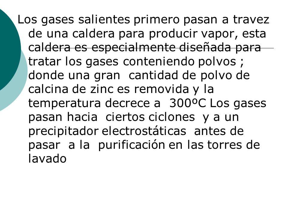 Los gases salientes primero pasan a travez de una caldera para producir vapor, esta caldera es especialmente diseñada para tratar los gases conteniend