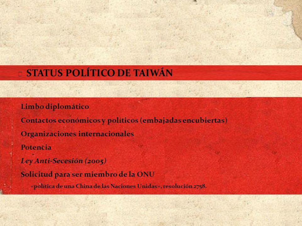 Limbo diplomático Contactos económicos y políticos (embajadas encubiertas) Organizaciones internacionales Potencia Ley Anti-Secesión (2005) Solicitud