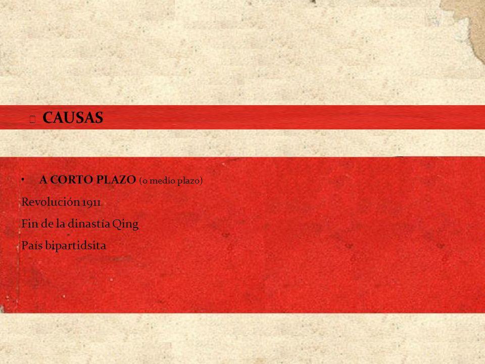 COMUNISTAS Continente (100 millones de habitantes, la mayoría campesinos) Reconquista de Manchuria (1947) República Popular China (1949) NACIONALISTAS Zonas costeras y grandes ciudades Isla de Formosa (protección de la flota americana) República China FINAL DE LA CONTIENDA (1940-1949)