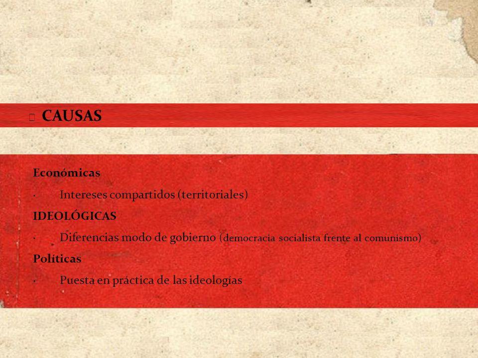 Económicas · Intereses compartidos (territoriales) IDEOLÓGICAS · Diferencias modo de gobierno (democracia socialista frente al comunismo) Políticas ·