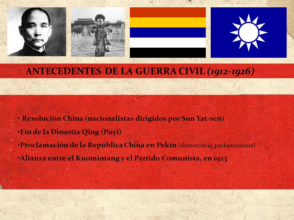 LA EXPEDICIÓN DEL NORTE (1926-1928) Campaña militar del Ejército Nacionalista Chino Más de 250.000 soldados nacionalistas Chiang Kai-chek Acabar con los caciques militares y señores feudales Problemas internos COMIENZO DEL CONFLICTO (1926-1939) Asistida por consejeros y armamento soviéticos Intento de secuestro en marzo de 1926 Ruptura de la alianza de 1923 Patrullas de la muerte 6 000 personas en Cantón (1937) Reunir todo el país bajo un mismo gobierno