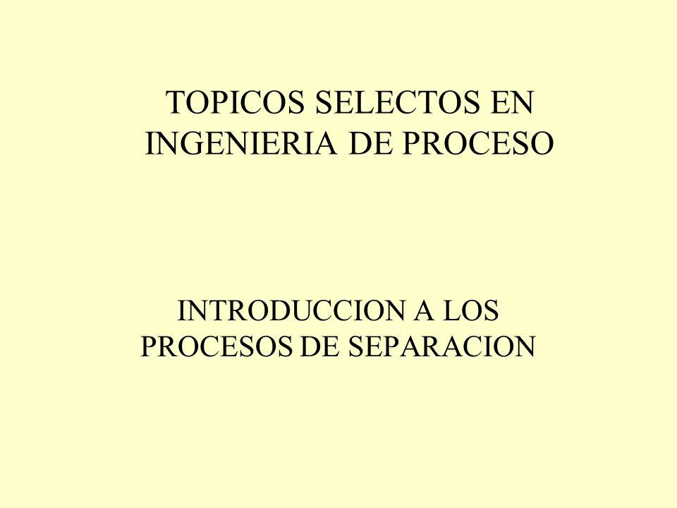 TOPICOS SELECTOS EN INGENIERIA DE PROCESO INTRODUCCION A LOS PROCESOS DE SEPARACION