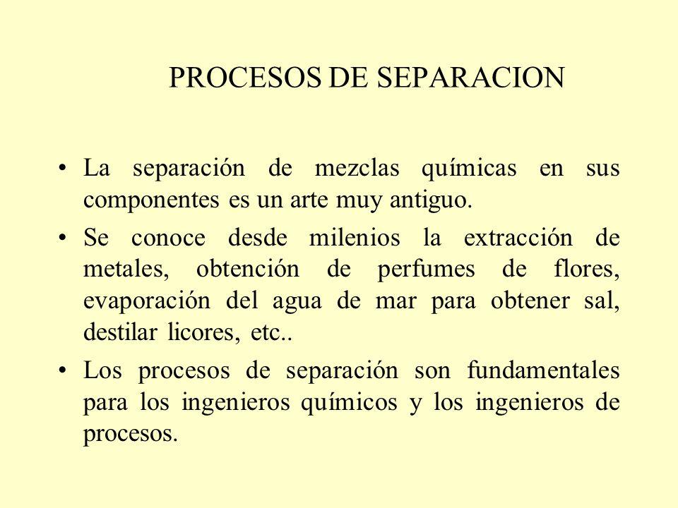 PROCESOS DE SEPARACION La separación de mezclas químicas en sus componentes es un arte muy antiguo. Se conoce desde milenios la extracción de metales,