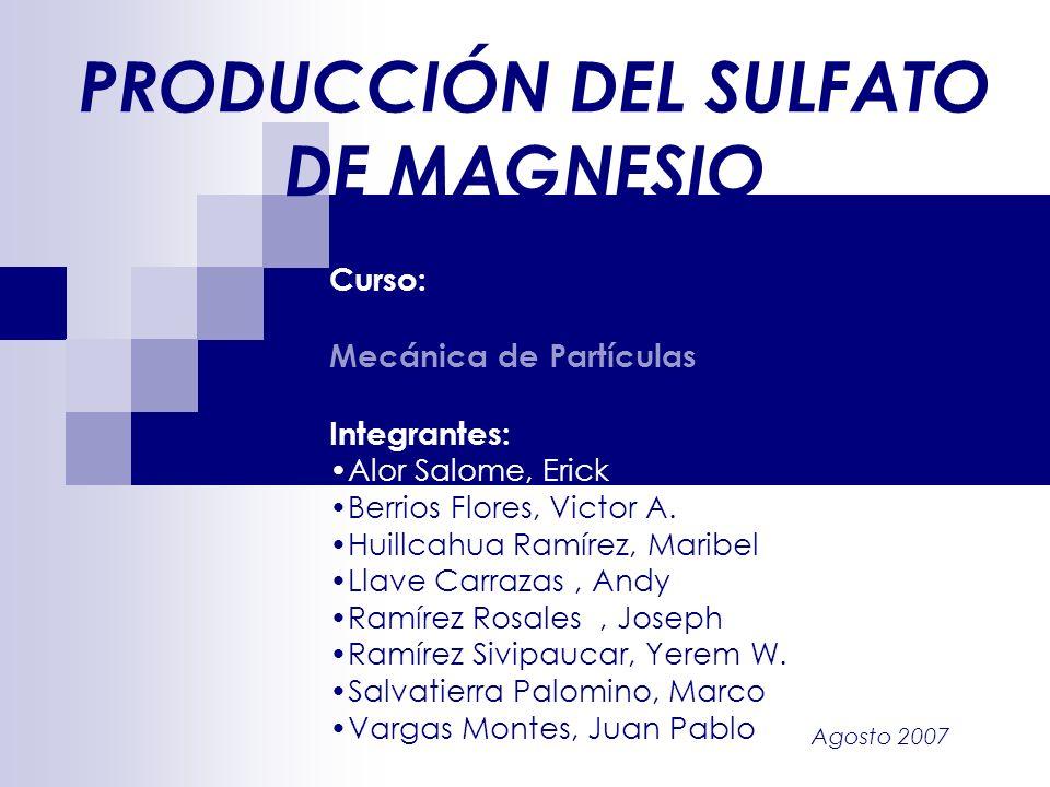 Agosto 2007 PRODUCCIÓN DEL SULFATO DE MAGNESIO Curso: Mecánica de Partículas Integrantes: Alor Salome, Erick Berrios Flores, Victor A. Huillcahua Ramí
