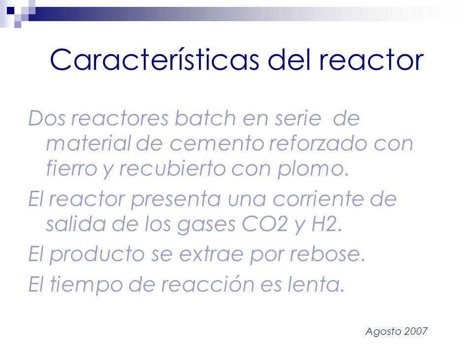 Agosto 2007 Características del reactor Dos reactores batch en serie de material de cemento reforzado con fierro y recubierto con plomo. El reactor pr