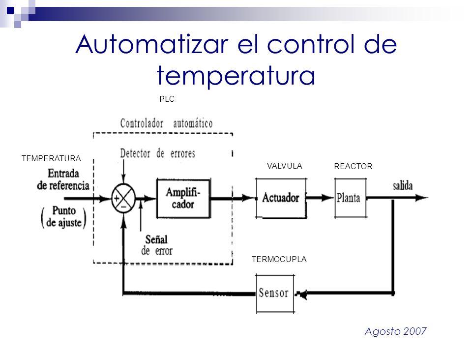 Automatizar el control de temperatura REACTOR VALVULA TERMOCUPLA TEMPERATURA PLC