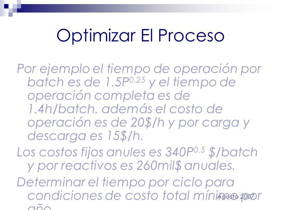 Agosto 2007 Optimizar El Proceso Por ejemplo el tiempo de operación por batch es de 1.5P 0.25 y el tiempo de operación completa es de 1.4h/batch. adem